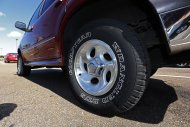 <p>               This Tuesday, Oct. 23, 2012, photo, shows a Ford Explorer with Goodyear tires in Jackson, Miss. Goodyear Tire & Rubber Co. said Friday, Oct. 26, 2012 that its third-quarter net income fell by nearly one-third as lower tire sales in Europe offset cost savings and higher North American profits. The company's results fell short of Wall Street expectations, and it said in a statement that more cost cuts are coming because of economic uncertainty. (AP Photo/Rogelio V. Solis)