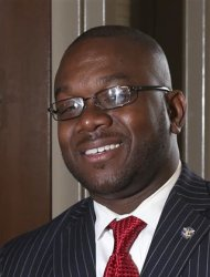 Marco McMillian, 34, a candidate for mayor of the Mississippi Delta city of Clarksdale, is shown in this undated campaign photograph released to Reuters on February 27, 2013. REUTERS/The McMillian campaign/Handout