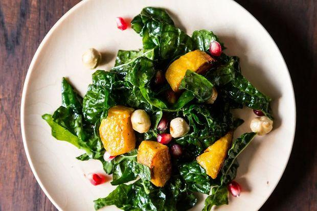 Hearty Kale Salad with Squash, Pomegranate, & Hazelnuts