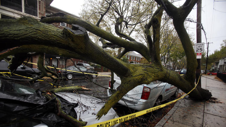 A fallen tree lies on top of a car in south Philadelphia Tuesday Oct. 30, 2012.  Millions of people from Maine to the Carolinas awoke Tuesday without power, and an eerily quiet New York City was all but closed off by car, train and air as superstorm Sandy steamed inland, still delivering punishing wind and rain. (AP Photo/Jacqueline Larma)