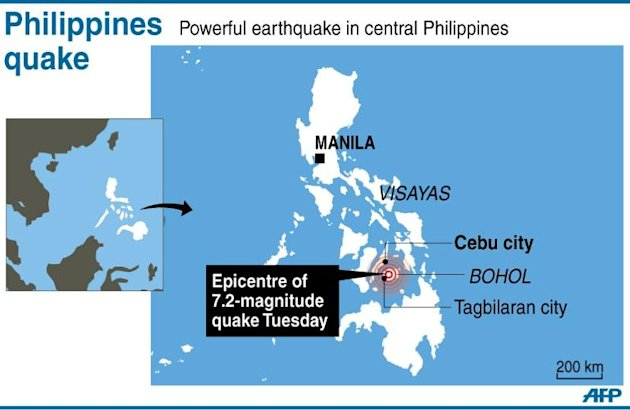 Graphic locating the epicentre of a 7.2-magnitude quake that hit central Philippines on Tuesday morning
