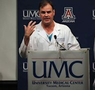 Dr. Michael Lemole at a press conference after surgery. (Photo by John Moore/Getty Images)