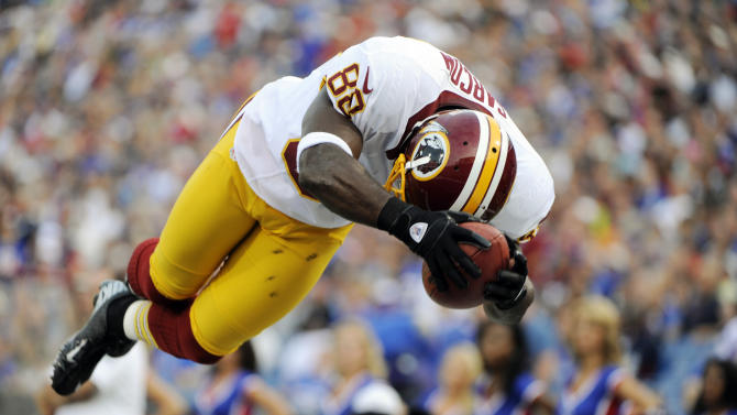 Washington Redskins' Pierre Garcon (88) scores a touchdown during the first half of a preseason NFL football game against the Buffalo Bills in Orchard Park, N.Y., Thursday, Aug. 9, 2012. (AP Photo/Gary Wiepert)