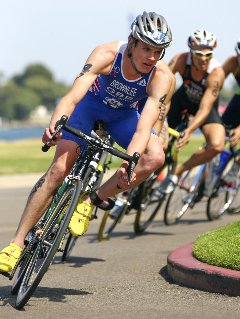 In this photo released by the International Triathlon Union, Britain's Jonathan Brownlee leads the elite men's field on the bike on his way to winning the ITU World Triathlon San Diego on Saturday, May 12, 2012. (AP Photo/ITU, Larry Rosa)