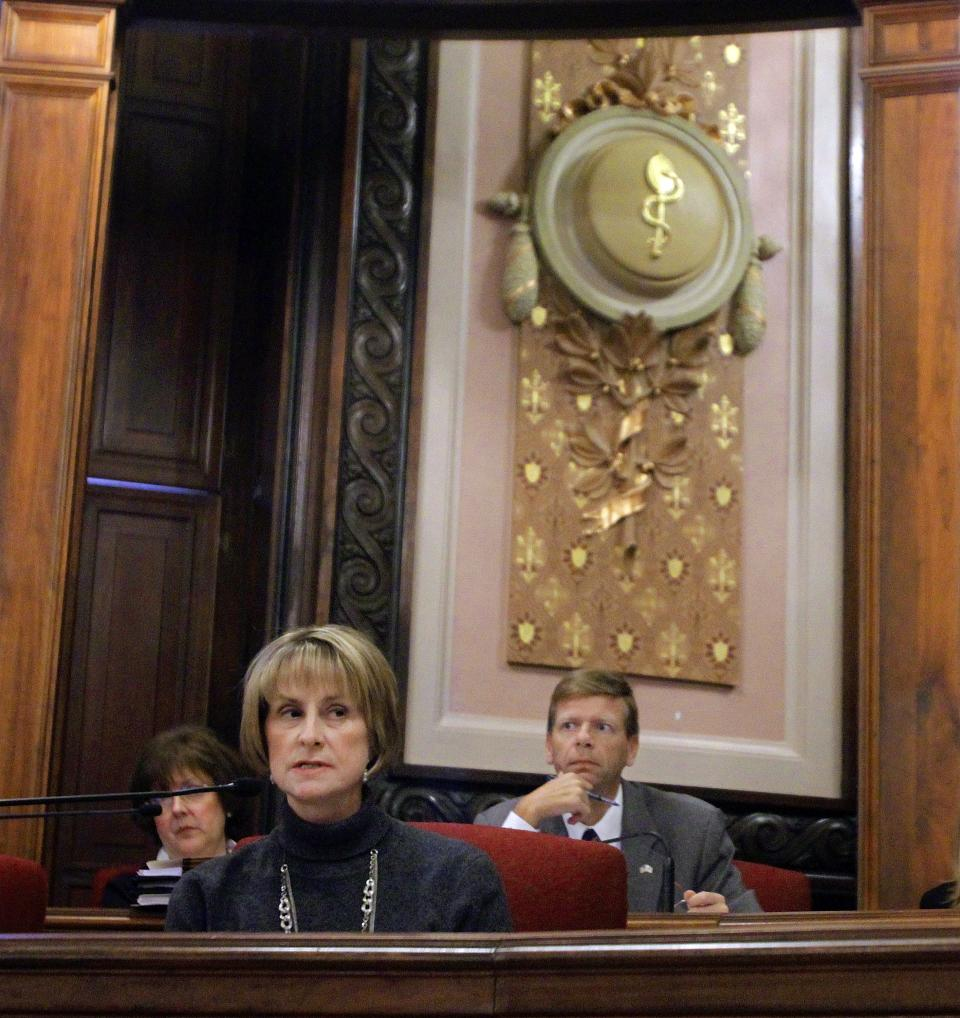 Illinois Senate Minority Leader Christine Radogno, R-Lemont, ask questions in the Senate Executive committee hearing during veto session at the Illinois State Capitol Thursday, Oct. 27, 2011 in Springfield, Ill. (AP Photo/Seth Perlman)