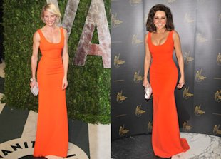 Fash Off: Cameron Diaz vs. Carol Vorderman In Eye-Catching Orange Victoria Beckham Dress