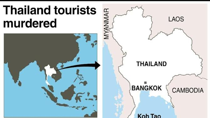 Map of Thailand locating the area where two British tourists were found beaten to death on Monday