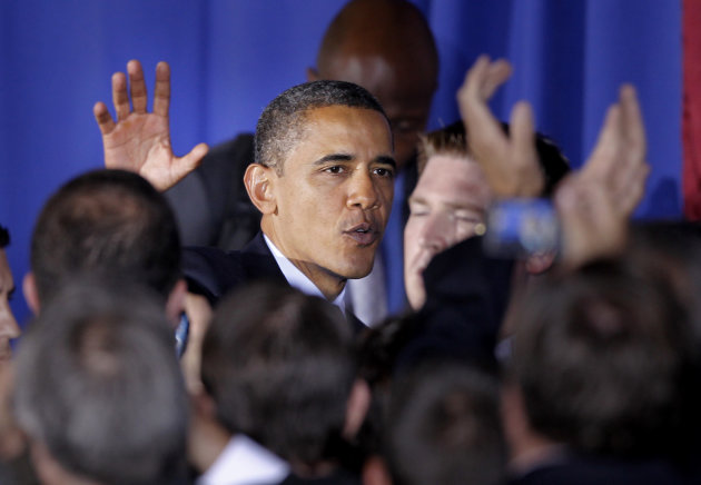 FILE - In this Oct. 11, 2011, file photo, President Barack Obama waves as he leaves the International Brotherhood of Electrical Workers Local No. 5 Training Center after speaking about jobs in Pittsburgh. Republican presidential candidate Mitt Romney and his allies are pouring money into Pennsylvania even though his partys nominees have lost it five straight times. Some independent analysts say the same result is likely this year. But few expect Obama to repeat his double-digit victory of four years ago. (AP Photo/Keith Srakocic, File)