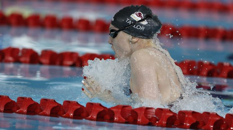 Taylor of England swims in the women's 100m Breastroke final during the 2014 Commonwealth Games in Glasgow