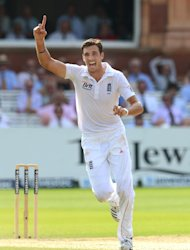 England's Steven Finn is on the road to recovery after a thigh strain