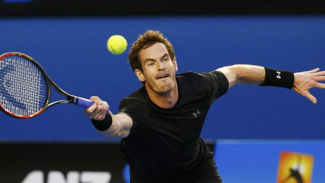Murray of Britain hits a return to Djokovic of Serbia during their men's singles final match at the Australian Open 2015 tennis tournament in Melbourne