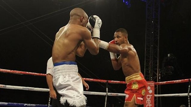 Kell Brook en route to stopping Carson Jones in their rematch