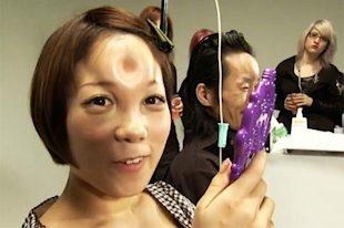 A Facebook bagel head support group shows this woman with saline injections.