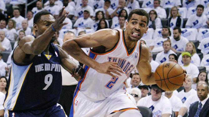 Oklahoma City Thunder guard Thabo Sefolosha (2) drives around Memphis Grizzlies guard Tony Allen (9) during the first half of Game 5 of an NBA basketball playoffs Western Conference semifinal, in Oklahoma City, Wednesday, May 15, 2013. (AP Photo/Alonzo Adams)