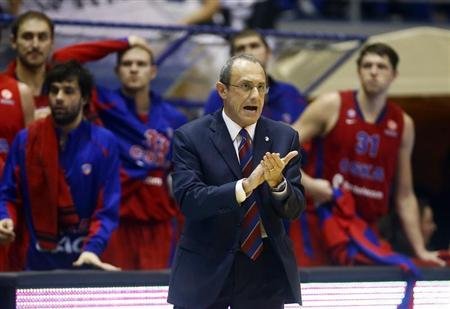 CSKA Moscow's head coach Messina reacts during their Euroleague basketball game against Partizan Belgrade in Belgrade