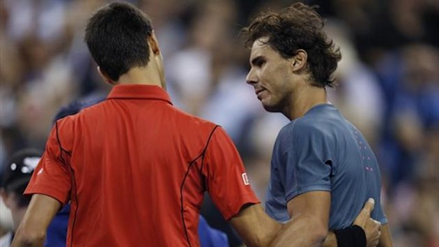 Rafael Nadal of Spain is congratulated by Novak Djokovic of Serbia (L) after his victory in the final of the US Open (Reuters)