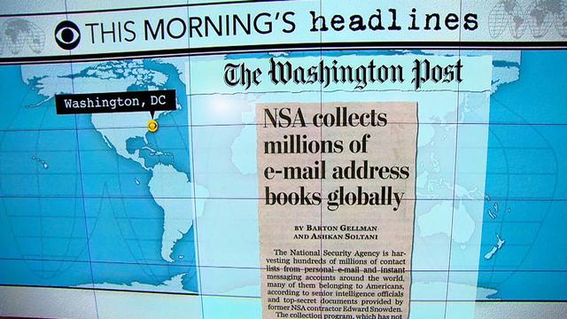 Headlines: NSA collecting millions of email addresses, Snowden says