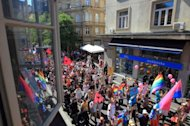 Participants take part in a Gay Pride parade in Zagreb. Some 2,000 people took part in a gay-rights march on Croatia&#39;s capital, calling on the government to boost the rights of same-sex couples in the largely conservative EU-bound country