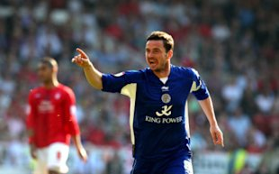 Leicester City's Matt Oakley celebrates scoring their equalising goal of the game