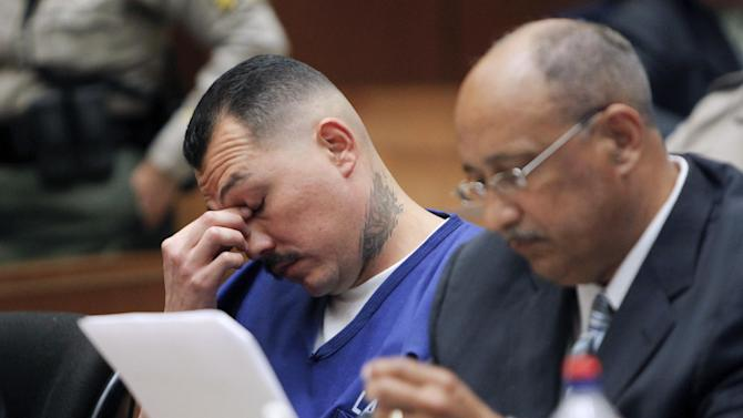 Defendant Louie Sanchez, left, appears in Los Angeles Superior Court with an attorney on Wednesday, May 30, 2012, in Los Angeles. Sanchez and co-defendant Marvin Norwood are accused of beating San Francisco Giants fan Bryan Stow in the parking lot of Dodger Stadium after a baseball game on March 31, 2011. (AP Photo/Nick Ut, Pool)