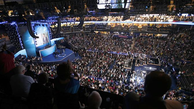 Delegates cheer during the Democratic National Convention in Charlotte, N.C., on Tuesday, Sept. 4, 2012. (AP Photo/Jae C. Hong)