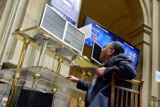 <p>File picture shows a trader at Madrid's stock exchange. Eurozone finance ministers will meet Monday to build on measures agreed last month to tame the debt crisis, seeking to provide fresh momentum as the economy slows and markets turn sceptical.</p>