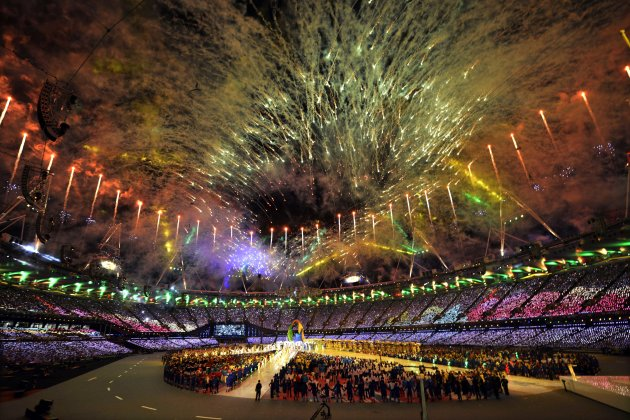 Fireworks explode over the stadium during the Closing Ceremony at the 2012 Summer Olympics, Sunday, Aug. 12, 2012, in London. (AP Photo/Martin Meissner)