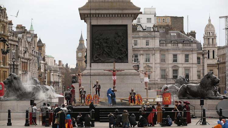 Actors Perform The Easter Passion Of Jesus In Trafalgar Square