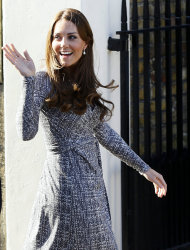 Britain's Kate, The Duchess of Cambridge arrives at Hope House, in London, Tuesday, Feb. 19, 2013. As patron of Action on Addiction, the Duchess was visiting Hope House, a safe, secure place for women to recover from substance dependence. (AP Photo/Kirsty Wigglesworth)