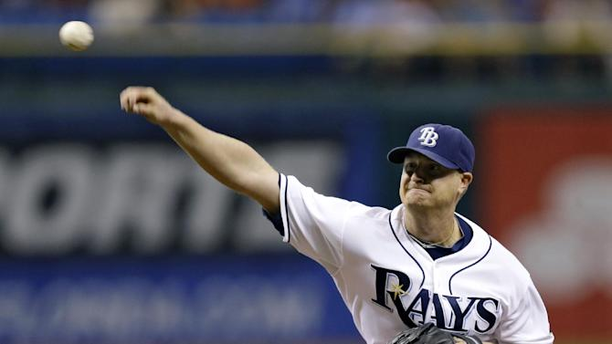 Tampa Bay Rays starting pitcher Alex Cobb delivers to the Baltimore Orioles during the second inning of a baseball game, Monday, Oct. 1, 2012, in St. Petersburg, Fla. (AP Photo/Chris O'Meara)