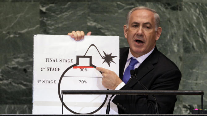 FILE - In this Sept. 27, 2012 file photo, Israeli Prime Minister Benjamin Netanyahu shows an illustration as he describes his concerns over Iran's nuclear ambitions during his address to the 67th session of the United Nations General Assembly at U.N. headquarters. As concern intensifies over Iran's nuclear program and the rise of Islamist governments in the Middle East, America's top ally in the region, Israel, has become increasingly wary. Israel's security has been a U.S. foreign policy priority of both Democratic and Republican administrations since the Jewish state was created in 1948. Although small in size and population, Israel has significant influence in Washington and presidents of both parties have pledged their commitment to its defense. And it's always a potential flashpoint in a region that the U.S. depends on for oil. (AP Photo/Richard Drew, File)