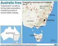 <p>Graphic locating bushfire warnings in the Australian states of New South Wales, Victoria and Tasmania.</p>