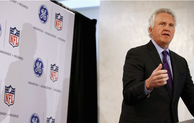 Jeff Immelt, Chairman and CEO of General Electric speaks at a news conference announcing the Head Health Initiative along with the National Football League (NFL) in New York