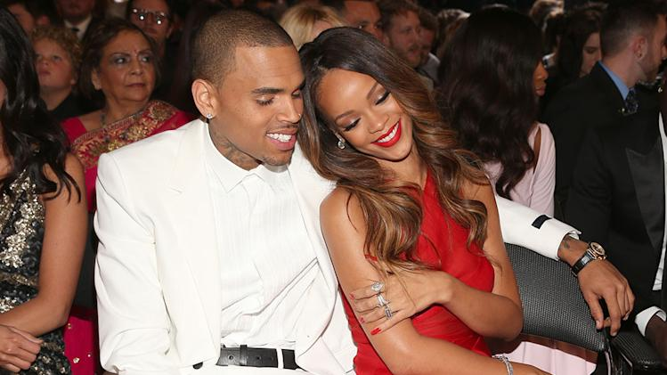 The 55th Annual GRAMMY Awards - Backstage And Audience: Chris Brown and Rihanna