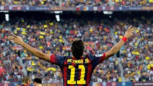 Neymar celebrates a goal for Barcelona