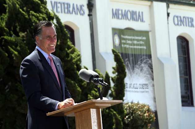 Republican presidential candidate, former Massachusetts Gov. Mitt Romney, speaks during a campaign event at the Veterans Museum & Memorial Center, Monday, May 28, 2012 in San Diego.  (AP Photo/Mary Al