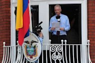 Wikileaks founder Julian Assange addresses the media from the balcony of the Ecuadorian Embassy in London in August 2012. Ecuador says it is prepared to shelter Assange inside its London embassy for years if necessary as it negotiates the WikiLeaks founder&#39;s fate with Britain and Sweden