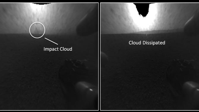 These before-and-after images provided by NASA show a plume of dust, left, that disappeared. NASA thinks a camera aboard Curiosity caught the rocket stage crash-landing in the distance. Curiosity landed on Mars on August 5, 2012 to begin a two-year exploration of Gale Crater. (AP Photo/NASA)
