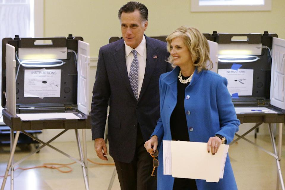 Republican presidential candidate, former Massachusetts Gov. Mitt Romney and wife Ann Romney vote in Belmont, Mass., Tuesday, Nov. 6, 2012. (AP Photo/Charles Dharapak)