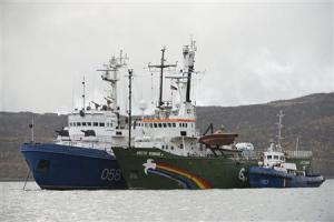"""Greenpeace ship """"Arctic Sunrise"""" is seen anchored outside the Arctic port city of Murmansk"""
