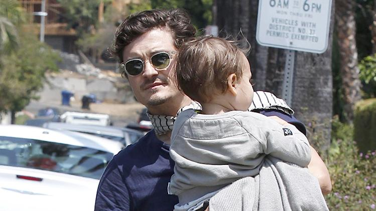 Orlando Bloom Cuddles Son Flynn Bloom, Arriving at a Friend's House