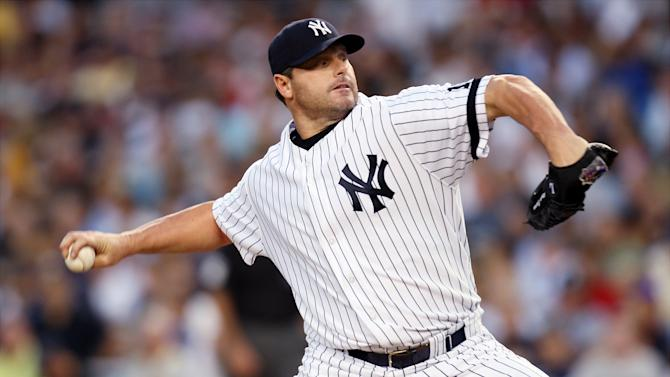 UNITED STATES - AUGUST 29: New York Yankees' starter Roger Clemens delivers a pitch in the second inning of a game against the Boston Red Sox at Yankee Stadium. The Rocket gave up two hits in six innings pitched for the win as the Yanks beat the Sox, 4-3. (Photo by Corey Sipkin/NY Daily News Archive via Getty Images)