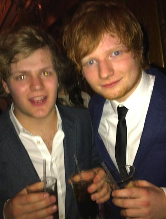 Celebrity photos: Look who we bumped into at the BRITs after party this year? The lovely Ed Sheeran who posed with The Young Apprentice's Harry Maxwell.
