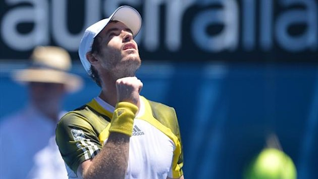 Andy Murray celebrates his first-round win over Robin Haase at the Australian Open (AFP)