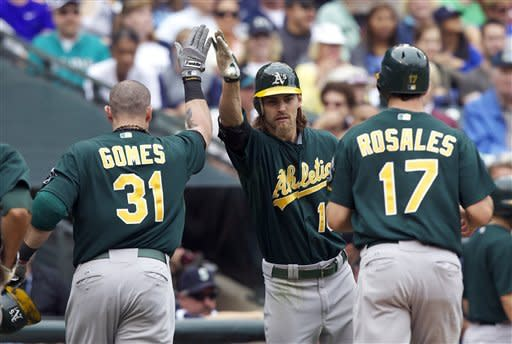 Gomes homers, Milone fans 10 as A's beat Mariners