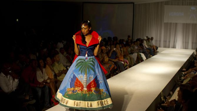 A model wears a creation by Haitian designer Verona during Fashion Week in Port-au-Prince, Haiti, late Sunday, Nov. 11, 2012. (AP Photo/Dieu Nalio Chery)