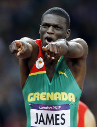 Grenada's Kirani James reacts after winning the gold medal in the men's 400-meter during the athletics in the Olympic Stadium at the 2012 Summer Olympics, London, Monday, Aug. 6, 2012. (AP Photo/Daniel Ochoa De Olza)
