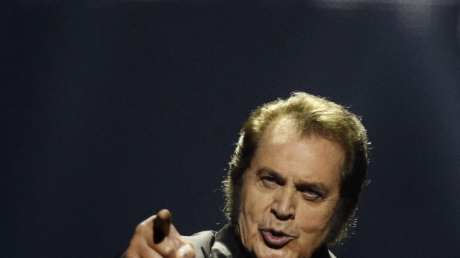 United Kingdom's Engelbert Humperdinck performs during the final show of the 2012 Eurovision Song Contest at the Baku Crystal Hall in Baku, Sunday, May 27, 2012.  (AP Photo/Sergey Ponomarev)