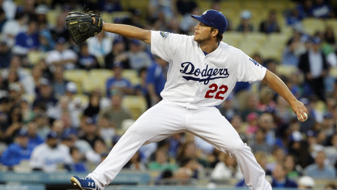 Los Angeles Dodgers starter Clayton Kershaw pitches to the Arizona Diamondbacks in the second  inning of a baseball game in Los Angeles Monday, May 14, 2012. (AP Photo/Reed Saxon)