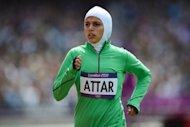 Saudi Arabia&#39;s Sarah Attar competes in the women&#39;s 800m heats at the London Olympics on August 8. After limping home a distant last in her 800m heat, the US-born Attar called it the &quot;hugest honor to be here to represent the women of Saudi Arabia&quot;